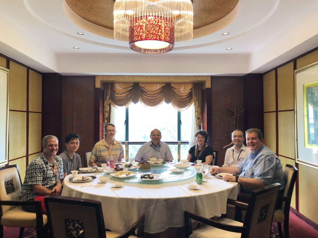 A celebration lunch with the factory management.